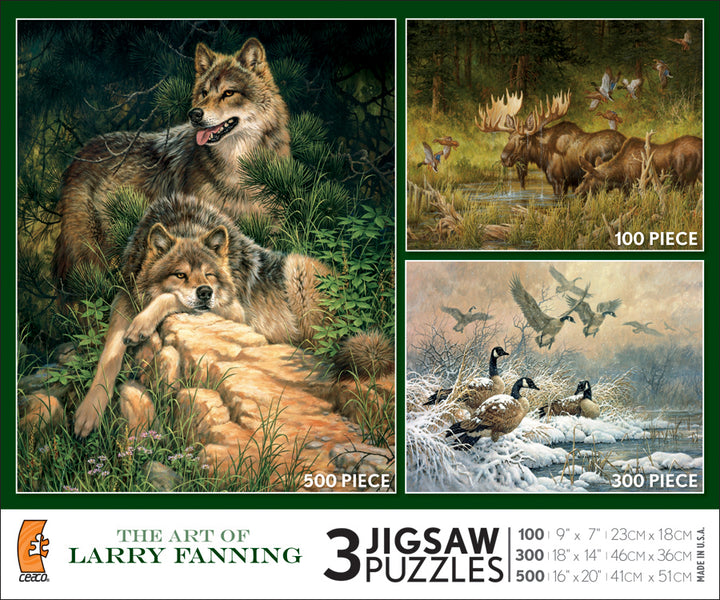 The Art of Larry Fanning Jigsaw Puzzles, 3 in 1