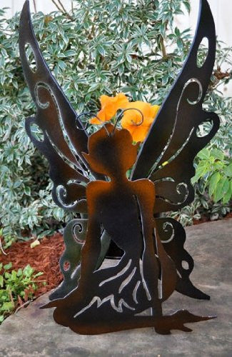 Georgetown Home and Garden Silhouette Fairy Planter - Kneeling Fairy