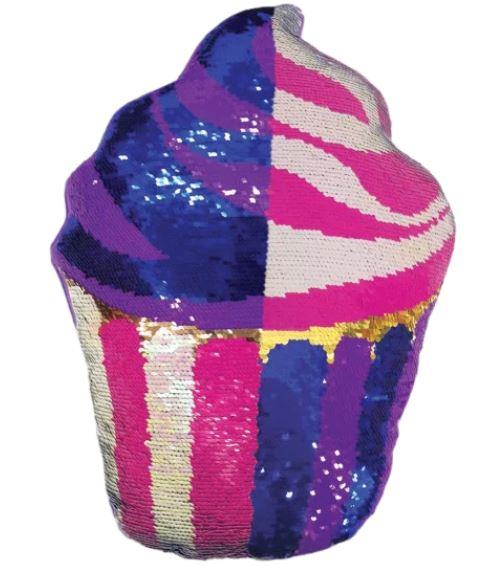 Iscream Cupcake Reversible Sequin Pillow