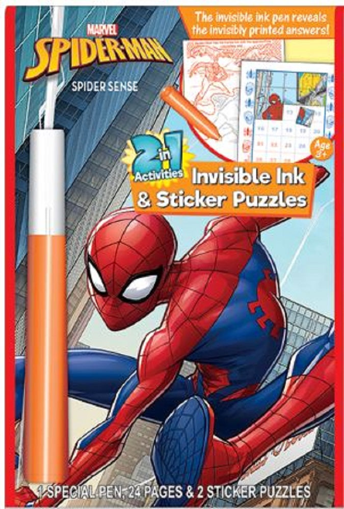 Spiderman 2 in 1 Invisible Ink & Sticker Puzzles Book- Spidey Sense