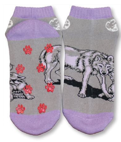 Wolves Shorty Slipper Socks-Large