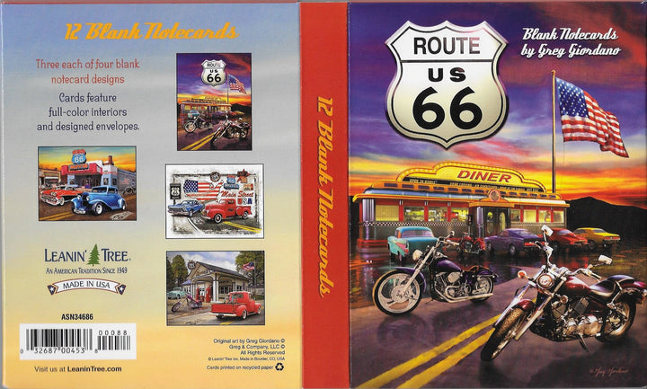 Route 66 Blank Notecards by Greg Giordano