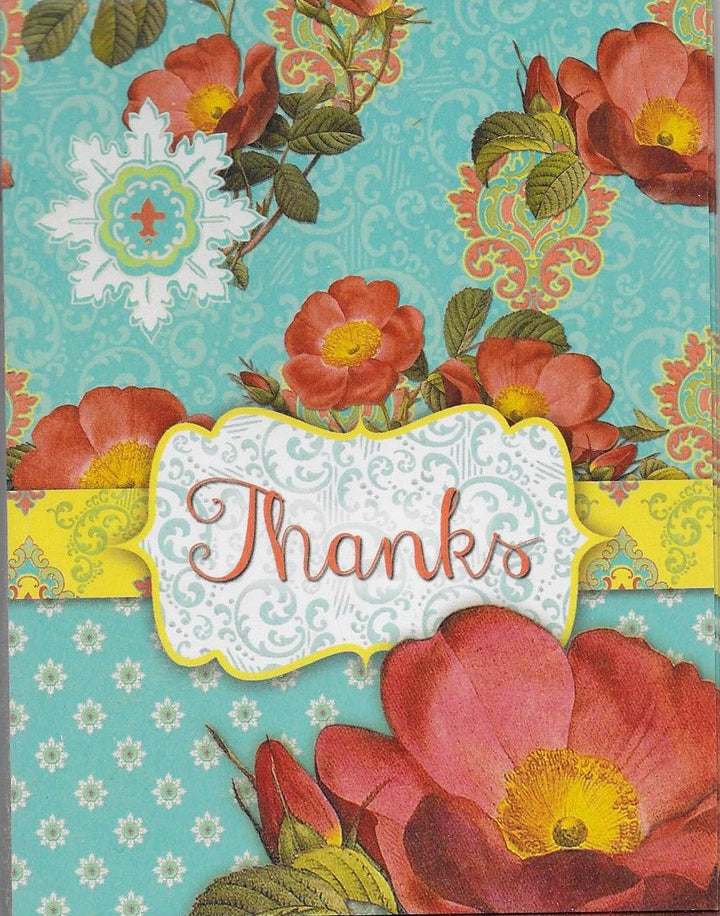 Thanks Flowered Notecards with Envelopes