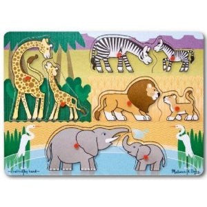 Melissa & Doug Safari Animals Peg Puzzle