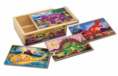 Melissa & Doug 4 wooden Jigsaw Puzzles in a Box- dinosaurs