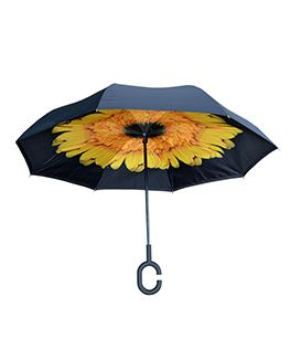 Topsy Turvy Inverted Umbrella Black/Sunflower