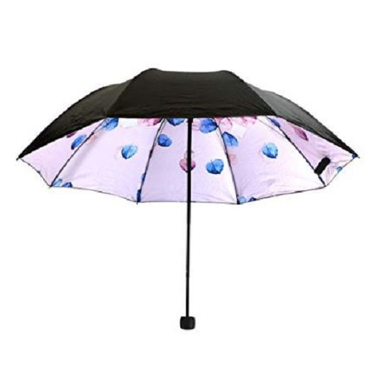 UV Protection Umbrella Watercolors Collection Pink and Blue Leaves