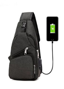 Anti Theft with USB Charging Sling Bag Day Pack- Black