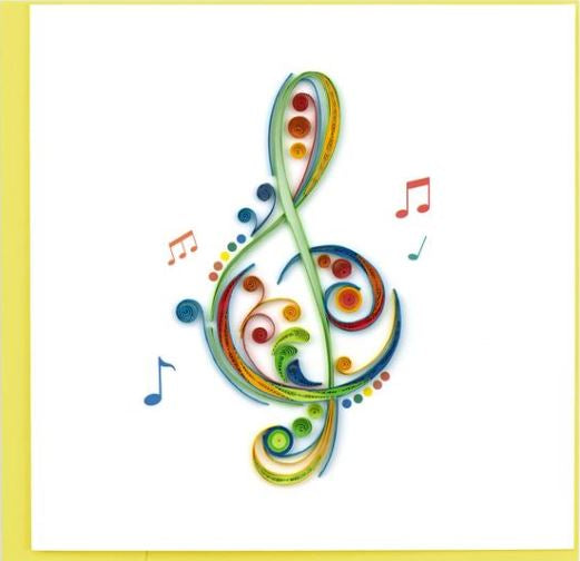 Quilling Card Treble Clef Greeting Card