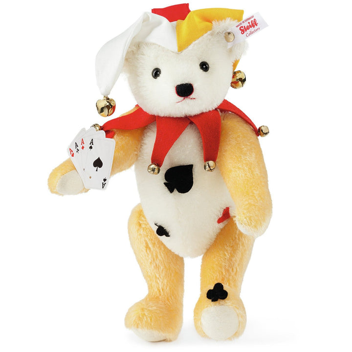 Steiff Joker Teddy Bear, White/Yellow