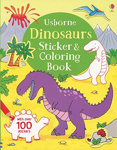 Dinosaurs Coloring and Sticker Book Paperback