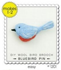 Woolpets Bluebird Pin Wool Needle Felting Craft Kit