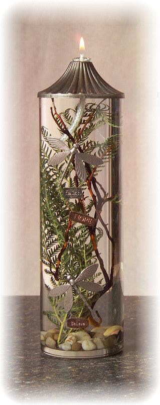 Large Cylinder Oil Candle-Dragonflies, 12