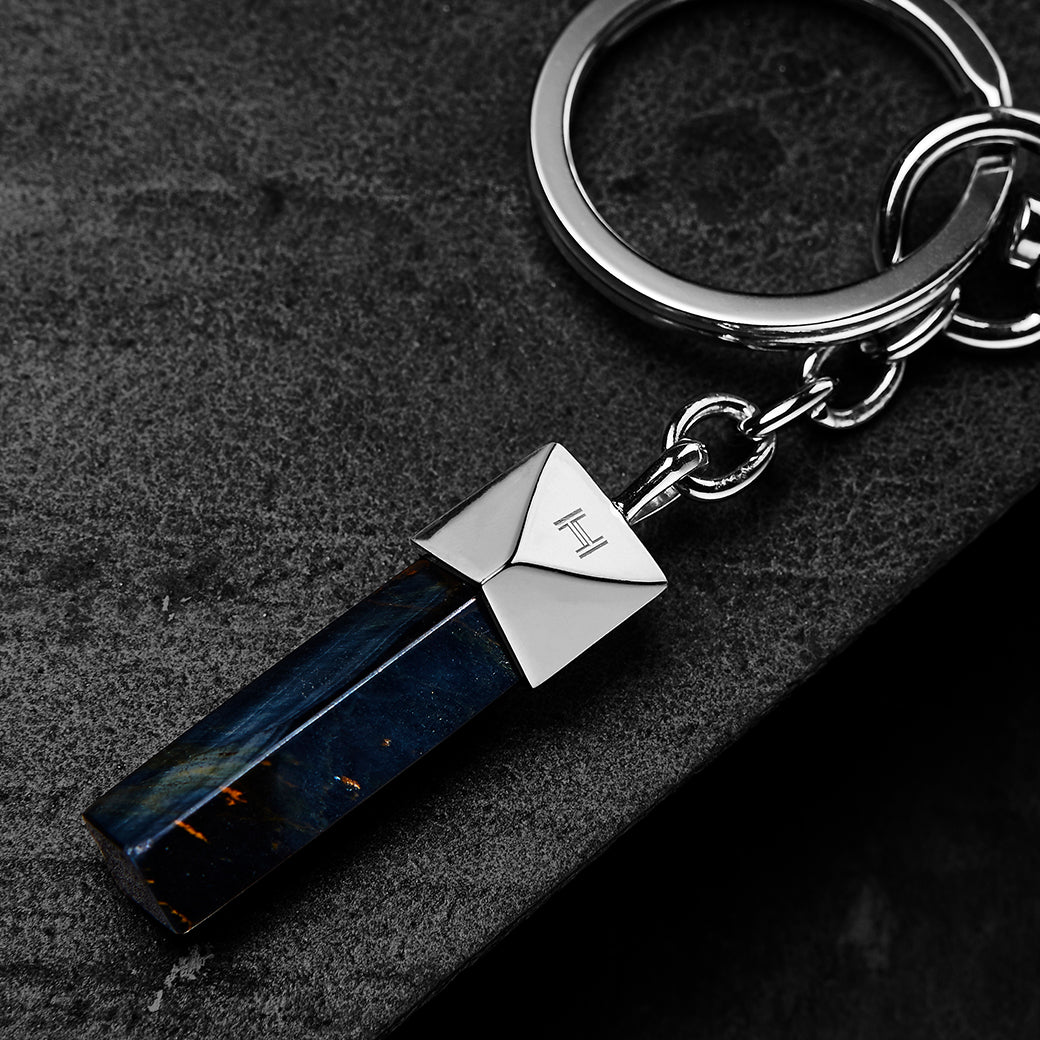 The Gladius Keychain | Blue Tiger Eye