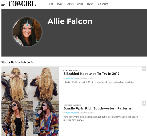 Allie Falcon Cowgirl Magazine Blogger