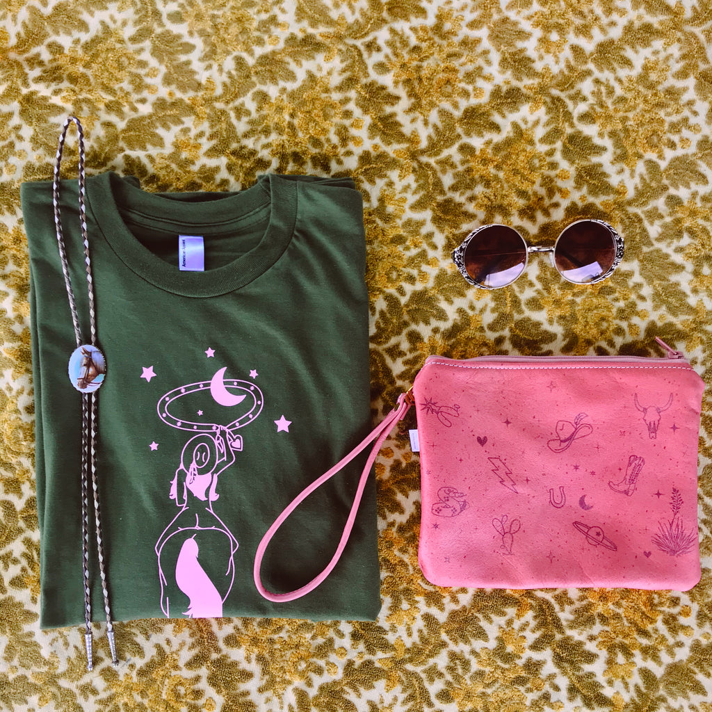 women's olive green and pink shirt
