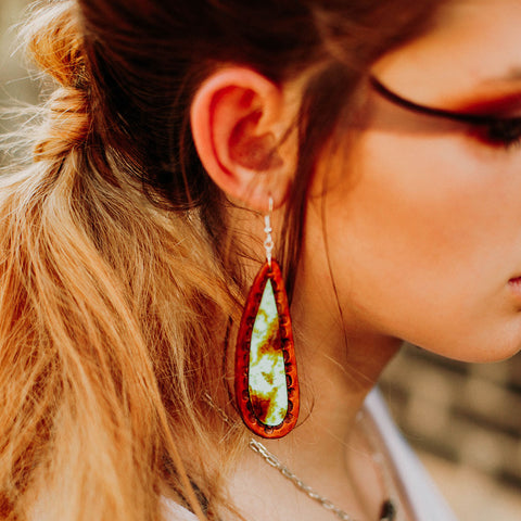 Teardrop Slab Turquoise Leather Earrings