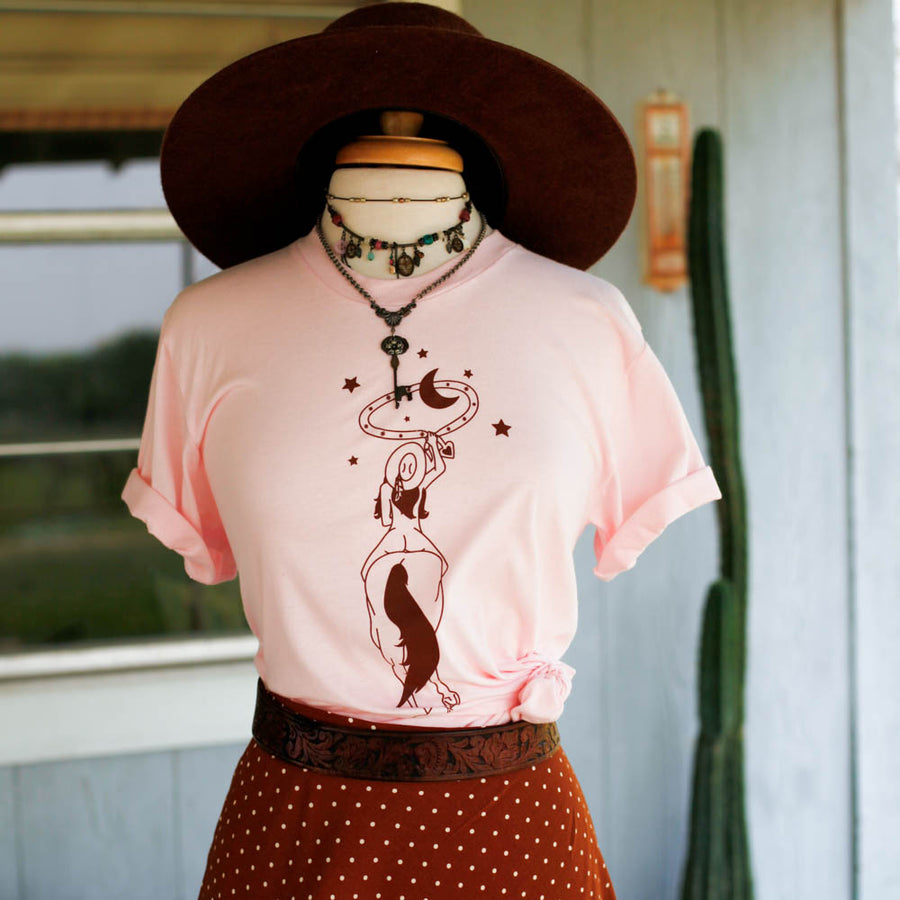 space cowgirl t shirt in light pink and rust