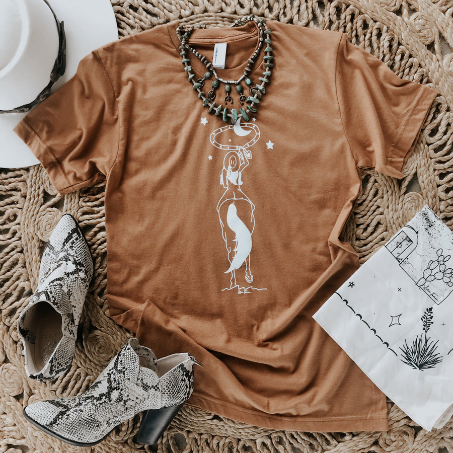 space cowgirl tee in camel