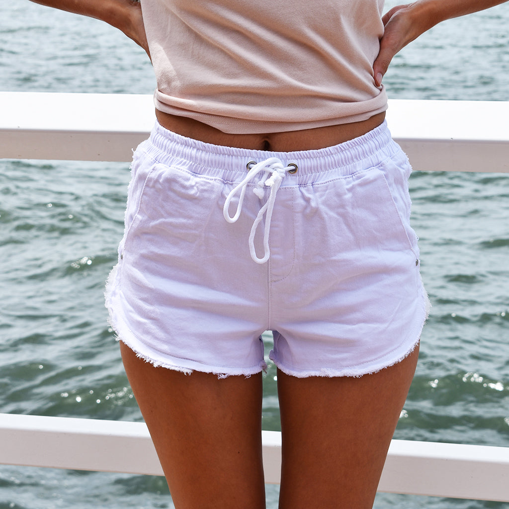 Denim Jogger Shorts - White - Friday Clothing Company