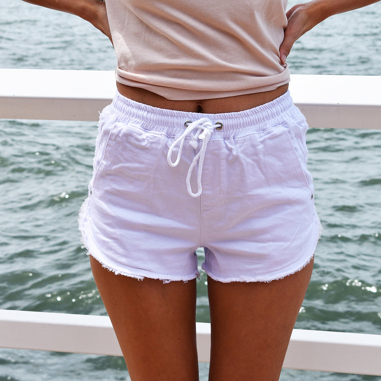 Denim Jogger Shorts - White