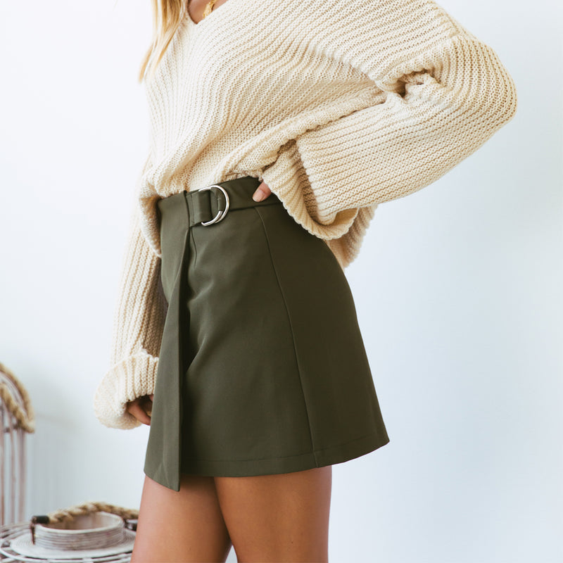Frenchy Skirt - Khaki - Friday Clothing Company