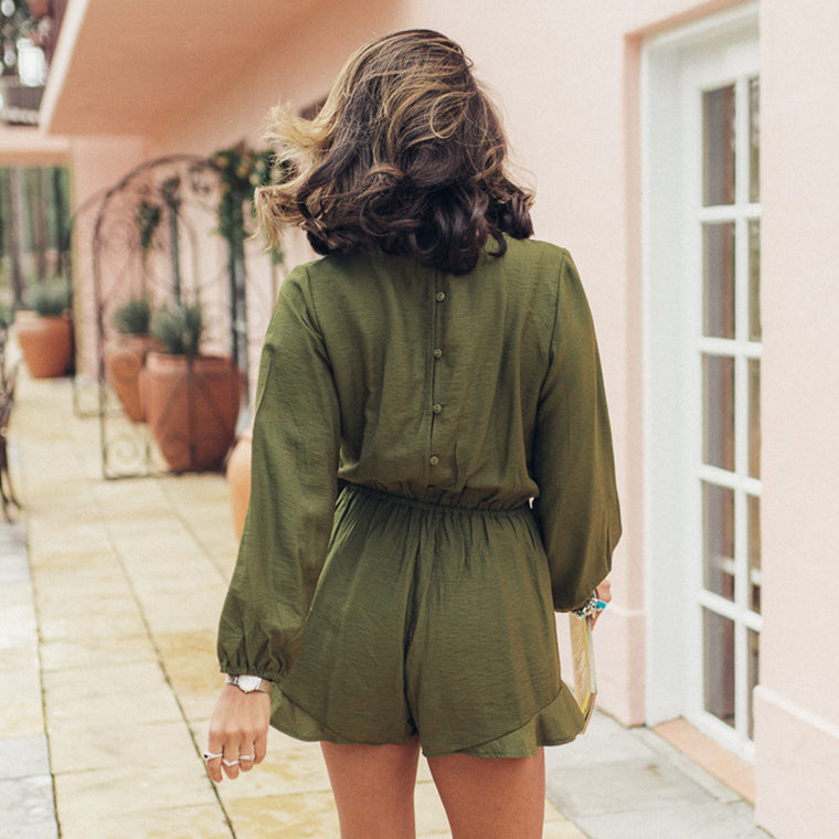 Jordan Playsuit - Khaki - Friday Clothing Company