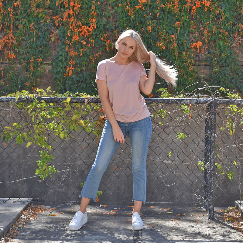 Roll Sleeve T-Shirt - Blush Pink - Friday Clothing Company