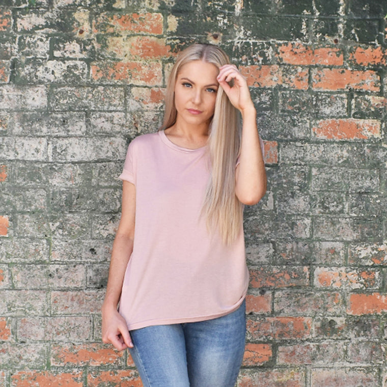 Roll Sleeve T-Shirt - Blush Pink