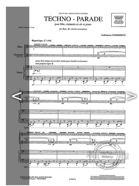 Connesson , Guillaume -Techno Parade for: Flute, clarinet, piano
