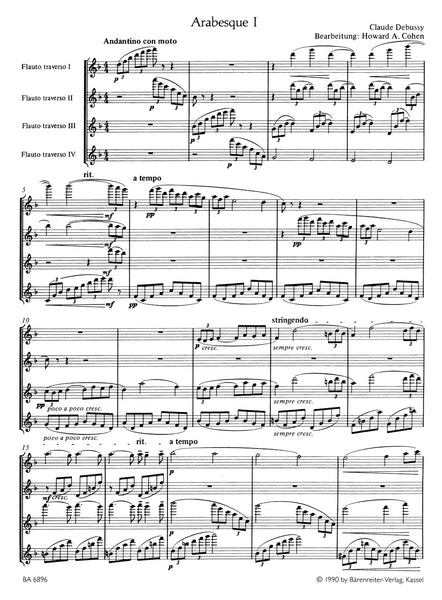 Debussy, C - Deux Arabesques Arranged for Four Flutes