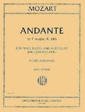 Mozart - Andante in F , K. 616 - 3 Flutes and Alto Flute or Clarinet in Bb