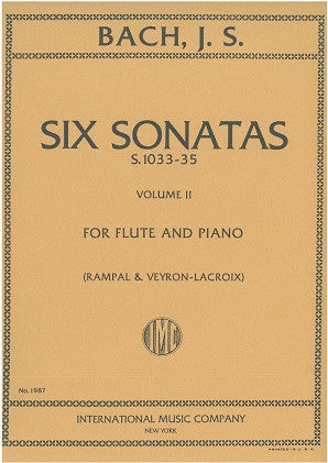 Bach, JS - Six Sonatas S.1033-35 Volume II for Flute & Piano  (International Music Co, 1987)