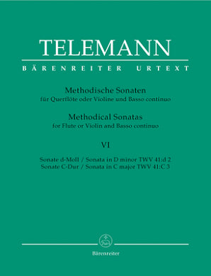 Telemann Methodical Sonatas Vol 6 for Flute or Violin and Basso continuo (Barenreiter)