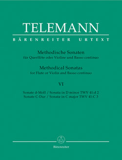 Telemann Twelve Methodical Sonatas Vol 6 for Flute or Violin and Basso continuo (Barenreiter)