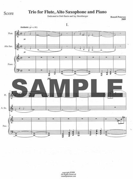 Peterson Russell - Trio #1 For Flute, Alto Saxophone and Piano Score and Parts
