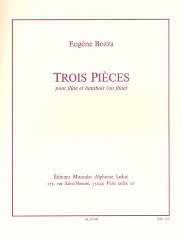 Bozza, Eugene - 3 Pieces for Flute and Oboe (or Flute)