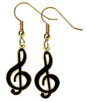 Earrings G Clef Black