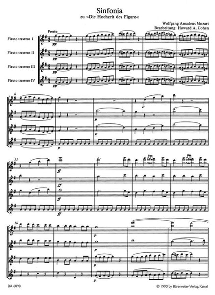 Mozart Wolfgang Amadeus	Marriage of Figaro Overture arranged for Flutes.