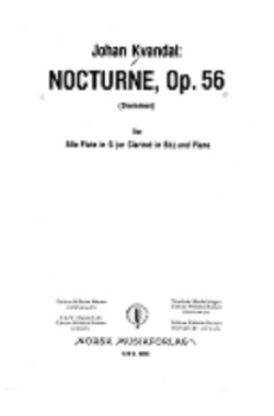 Kvandal, Johan - Nocturne Op. 56 for Alto Flute in G (or Clarinet in Bb) and Piano