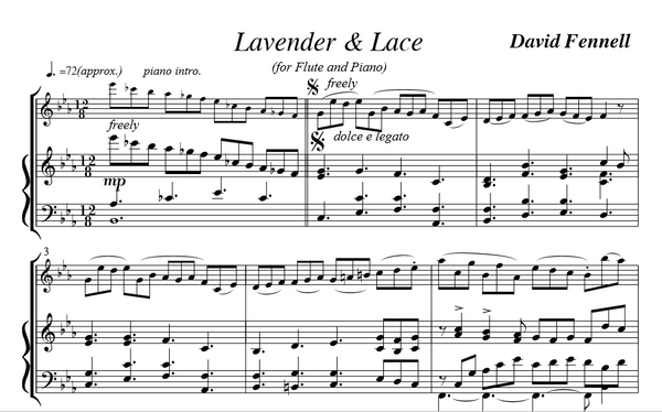 Fennell, D - Lavender & Lace for flute and piano (Digital Download)