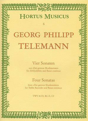 "Telemann -  Four Sonatas for Flute/ Treble Recorder and Basso continuo from ""Der getreue Musikmeister""(Hortus Musicus)"