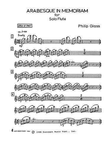 Glass, P - Arabesque in Memoriam for Solo Flute
