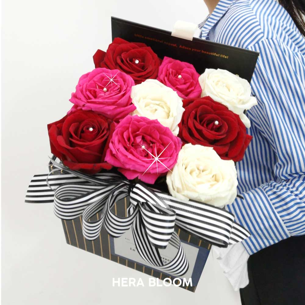 Mixed Rose in Box (Checked) - Hera Bloom