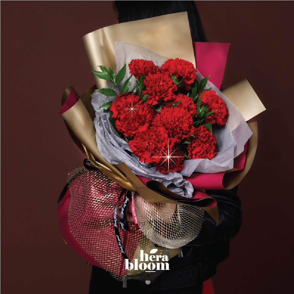 Red Carnation Bouquet - Hera Bloom
