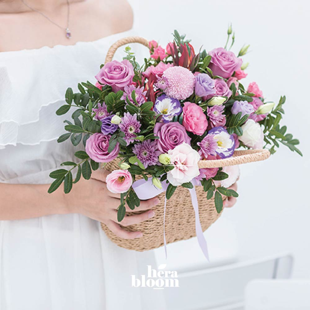 Purple Pastel Basket - Hera Bloom
