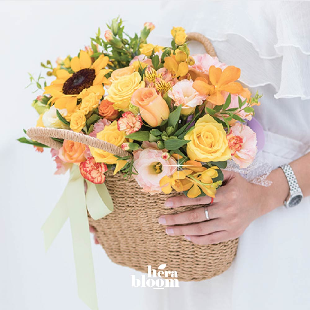 Bright Orange Basket - Hera Bloom