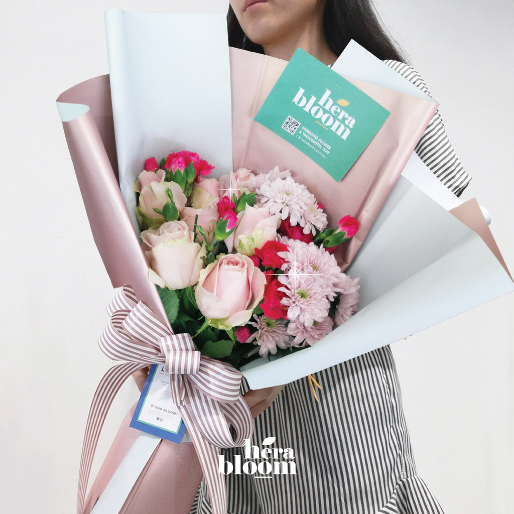 Baby Pink Rose Mixed Bouquet - Hera Bloom