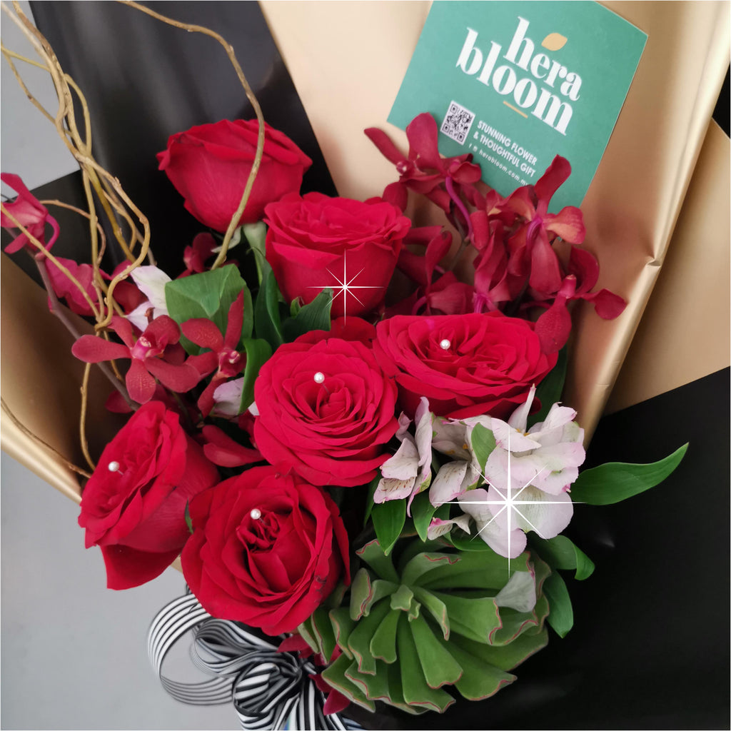 Succulent Red Rose Bouquet - Hera Bloom