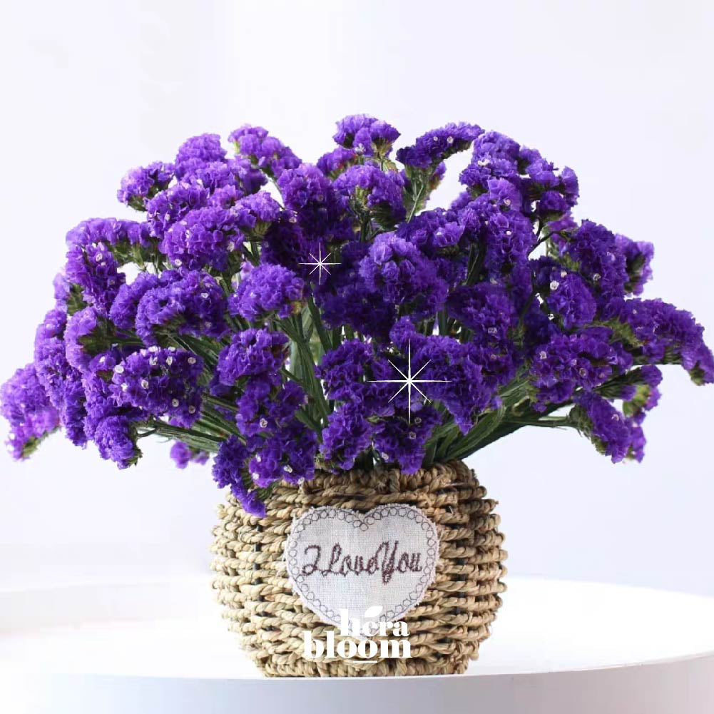Dried Purple Statice in Basket - Hera Bloom